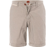 Herren Hose Shorts Regular Fit Baumwolle beige gestreift