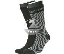 Herren  Socken Baumwoll-Stretch schwarz-grau gestreift