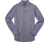 Herren Hemd Custom Fit Baumwolle blau gemustert