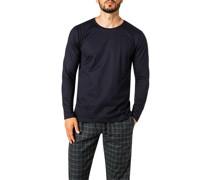 Schlafanzug Longsleeve Baumwolle marine