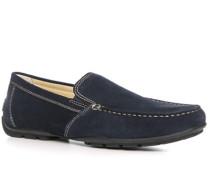 Herren Schuhe Mokassin Veloursleder marineblau
