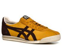 Herren Schuhe Sneaker Veloursleder gelborange-dunkelbraun