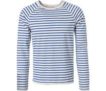 Herren T-Shirt Longsleeve Baumwolle blau-weiß gestreift