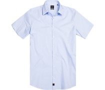 Herren Hemd Slim fit Baumwolle bleu-weiß gepunktet blau