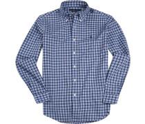 Herren Hemd, Popeline, blau kariert
