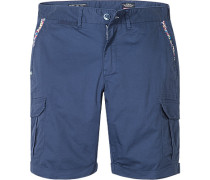 Herren Hose Cargo-Shorts Regular Fit Baumwoll-Stretch marine blau