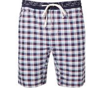 Herren Hose Bermudashorts Baumwolle blau-ecru kariert blau,weiß