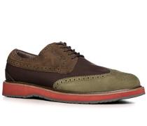 Herren Schuhe Brogues Microfaser-Lederimitat-Mix braun-grün braun,braun