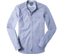 Herren Hemd Shaped Fit Baumwolle dunkelblau meliert