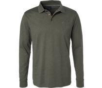 Herren Polo-Shirt, Regular Fit, Baumwoll-Jersey, olivgrün meliert