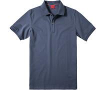 Herren Polo-Shirt, Body Fit, Baumwoll-Piqué, indigo blau