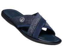 Herren Schuhe Pantolette Veloursleder blau geprägt