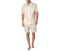 Herren Schlafanzug Pyjama, Baumwolle, creme beige