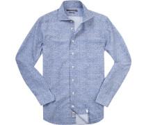 Herren Hemd Shaped Fit Popeline marine gemustert blau