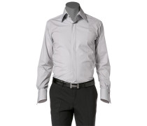 Herren Hemd Slim Fit Popeline-Stretch silbergrau