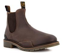 Schuhe Chelsea Boots Leder warmgefüttert dunkel