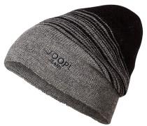 Herren Mütze, Schurwolle, grau-schwarz gestreift