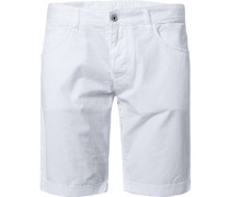 Herren Hose Bermudashorts Regular Fit Baumwolle weiß