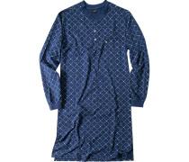 Herren Hachthemd Baumwolle marine-grau gemustert blau