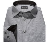 Herren Hemd, Slim Fit, Popeline, grau gemustert