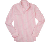 Hemd Slim Fit Baumwolle rosa-weiß gestreift