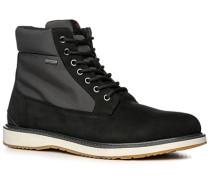 Herren Schuhe Stiefelette Nylon-Veloursleder-Mix wasserabweisend schwarz