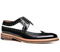 Herren Schuhe Budapester Glattleder schwarz-weiß