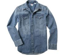 Herren Jeanshemd Classic Fit jeansblau