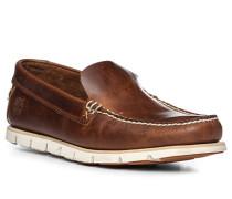 Schuhe Slipper Leder cognac