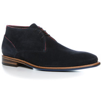 Herren Schuhe Schnürstiefelette, Veloursleder, dunkelblau