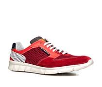 Herren Schuhe Sneaker Kalbleder-Textil-Mix rot-weiß rot,weiß