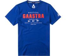 Herren T-Shirt, Baumwolle, royalblau gemustert