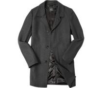 Herren Mantel Wolle schwarz-grau gemustert