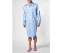 Herren Nachthemd Baumwolle hellblau gestreift