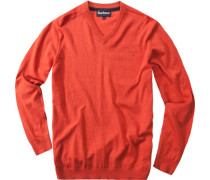 Herren Pullover V-Ausschnitt, Baumwolle-Kaschmir, rostorange