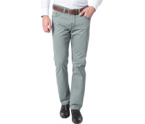 Herren Jeans Regular Fit Baumwoll-Stretch graugrün