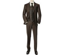 Herren Anzug Slim Line ohne Weste Wollmischung-Stretch espresso Plastron, Einstecktuch, Weste optional erhältlich braun