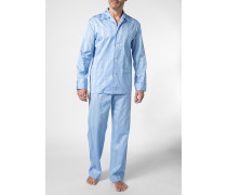 Herren Schlafanzug Pyjama, Baumwolle, eisblau gestreift