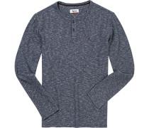 Herren Pullover Baumwolle navy-weiß meliert blau