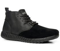 Herren Schuhe Boots Glatt- und Veloursleder-Mix schwarz