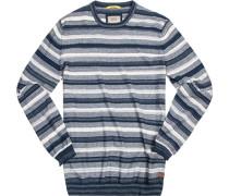 Herren Pullover Baumwolle blau-wollweiß gestreift