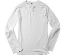 Herren T-Shirt Longsleeve Baumwolle weiß