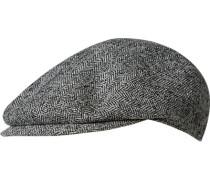 Herren   Schiebermütze Woll-Mix hellgrau-schwarz gemustert