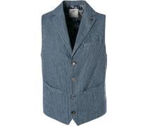 Herren Anzug Weste, Baumwolle, blau gestreift