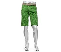 Herren Hose Bermudashorts Master, Modern Fit, Baumwolle wasserabweisend, jägergrün gemustert