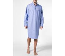 Herren Nachthemd Baumwolle dunkelblau-weiß kariert