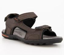 Schuhe Sandalen Leder-Textil mokka