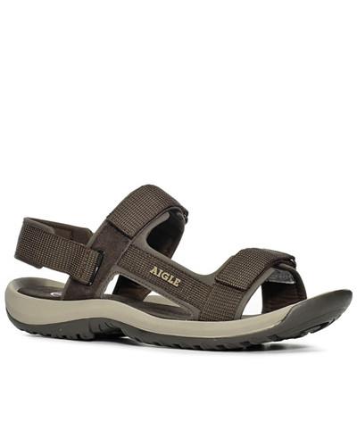 Aigle Herren Schuhe Sandalen, dunkel, Leder, Nylon