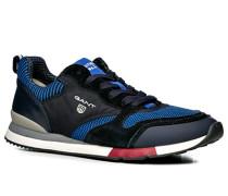 Herren Schuhe Sneaker, Leder-Textil, azurblau-nachtblau