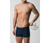 Herren Unterwäsche Trunks Baumwoll-Stretch schwarz-blau gestreift